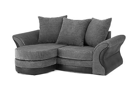 Merida Corner Sofa in Grey & Black - Left Hand