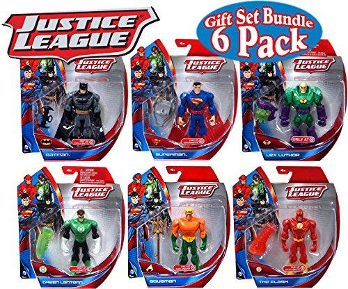 """DC Comics Justice League Batman, Superman, Lex Luthor, Green Lantern, Aquaman & The Flash 5"""" Action Figures Gift Set Bundle - 6 Pack"""