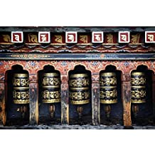 Pitaara Box Mantra Prayers In Bhutan Temple - LARGE Size 27.0 Inch X 18.0 Inch - UNFRAMED SELF-ADHESIVE PEEL &...