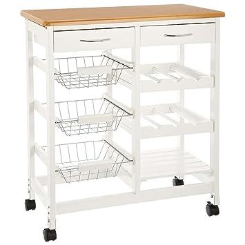CULINATO® Küchenwagen, Servierwagen in weiß aus Holz, 76x67x37cm ...