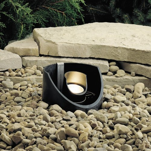 Kichler Lighting 15092BKT 12-Volt Low Voltage Well Light with Heat Resistant Flat Glass Lens, Textured Black