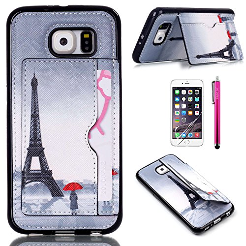 S6 Case, JCmax New Colorful High Quality TPU Case [Perfect Fit][Precise Opening] [Kickstand Design] Soft Flexible Back Cover For Samsung Galaxy S6(Not S6 Edge) ¨CGrey Tower