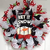 Let It Snow Winter Snowman Deco Mesh Wreath