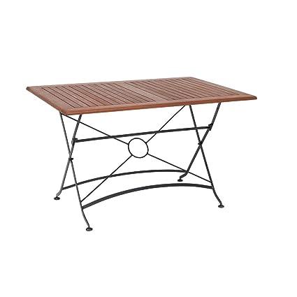greemotion Outdoor-Klapptisch Borkum, 120 x 80 cm - Design-Gartentisch im Landhaus-Stil - Tisch klappbar aus Holz- & Stahl-Kombination - Holztisch geeignet fur Garten, Terrasse & Balkon