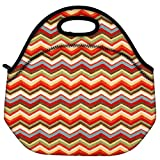 Snoogg Waves Pattern Reddish 2525 Travel Outdoor Carry Lunch Bag Picnic Tote Box Container Zip Out Removable Carry Lunchbox Handle Tote Lunch Bag Food Bag For School Work Office