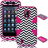 Bastex Heavy Duty Hybrid Dynamic Case for ZTE Source N9511 and ZTE Majesty Z796C - Pink Silicone / Chevron Hard Shell