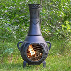 The Blue Rooster Cast Iron Pine Chiminea