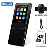 8GB Bluetooth MP3 Player with FM Radio/ Voice Recorder, 60 Hours Playback, Lossless Sound,Metal Touch button , 1.8 Inch Color Screen, HD Sound Quality Earphone , with an Armband, Black (Color: Black)