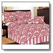 7Pcs Queen Beverly Microfiber Bedding Comforter Set Red