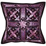 Home Decor Handmade Embroidered Work Design Elegant Mirror Work Cotton Single Cushion Cover 16x16 Inches Mother's...