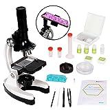 Scientoy kids Microscope with 100X-600X-1200X, 45 pcs Microscope Kit with Large-caliber Eyepiece, 12 Microscope Slides Brine Shrimp Hatchery, Metal Body, LED Light, Phone Holder, Best Science Experime