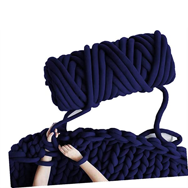 Arm Knitting Yarn, Hand Knitting, Arm Knit Yarn, Bulky Yarn, Jumbo Yarn, Giant Yarn,Cotton Tube Yarn, (Navy, 3.5 lbs) (Color: Navy, Tamaño: 3.5 lbs)