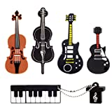 LEIZHAN 5x16GB USB Flash Drive Musical Instruments USB 2.0 Memory Stick Pen Drive(Yellow Guitar,Red Guitar,Cello,Violin,Piano) (Color: 5xMusical instruments, Tamaño: 16GB)