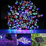 WattEDGE Solar Powered LED String Lights - 100 LED Outdoor Super Bright RGB Lights - Flexible Ambient Bulbs - Seasonal or Holiday Decoration - Festive Home Decor