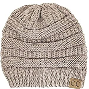 Trendy Warm Chunky Soft Stretch Cable Knit Slouchy Beanie Skully HAT20A,One Size,Taupe