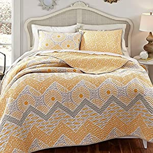 Kate Spain Sunnyside Quilt Sham Set, Gold Yellow, Full/Queen