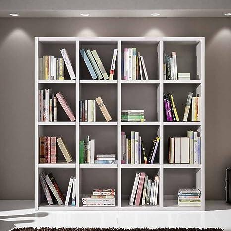 Set soggiorno composto da libreria bianco frassinato, stile moderno, in mdf laminato e struttura in acciaio - Mis. 175 x 30 x 132