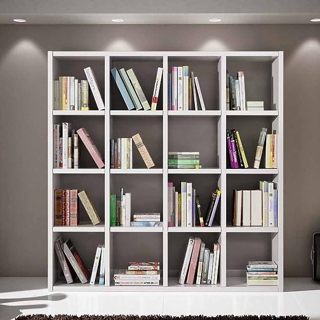 Libreria bianco frassinato, stile moderno, in mdf laminato e struttura in acciaio - Mis. 175 x 30 x 175