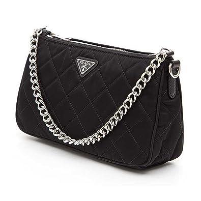 Prada Tessuto Impuntu Quilted Nylon Chain Handle Shoulder Bag ...