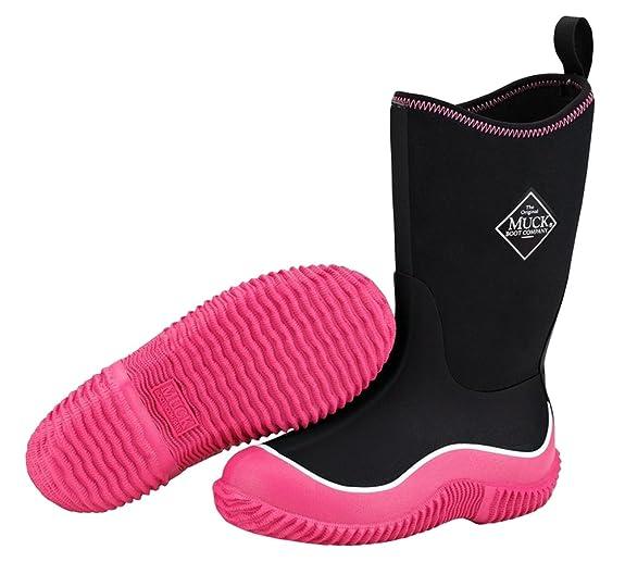 Muck Hale Kids Girls Black Foam Outdoor Sport Boots Pink Waterproof