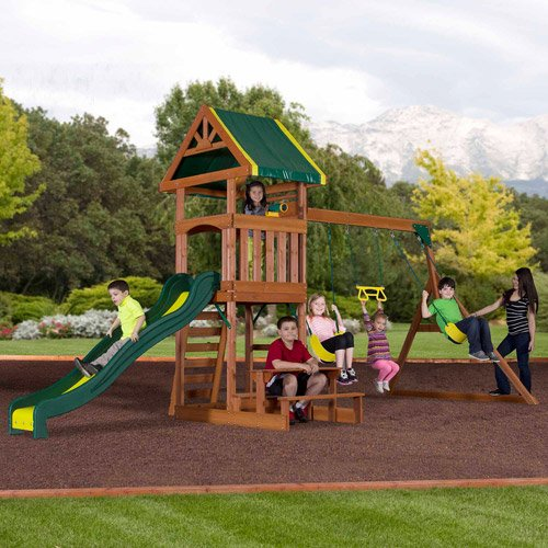 Backyard Discovery Dillon Wooden Swing Set. This Kids Outdoor Swingset Includes A Slide, Swings, Upper Deck, Sandbox Area, Rock Wall Ladder And Snack Bench. Swing Sets For Children Encourage Them To Have Fun Outdoors. Enjoy Your Outdoor Playsets
