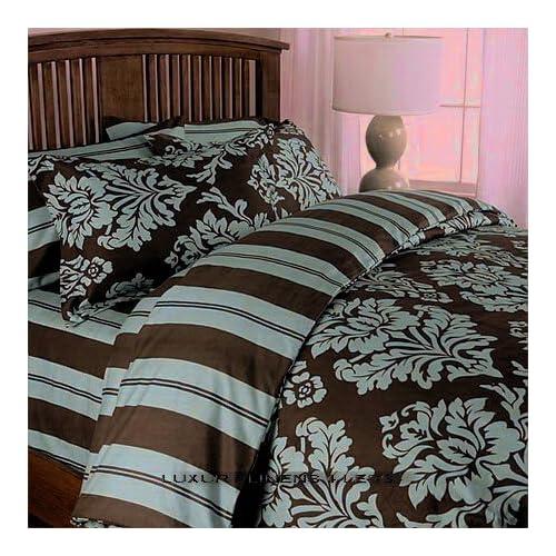 Amazon.com - Damask Brown Chocolate Blue Toile Bedding Duvet Cover Set