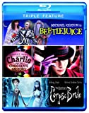 Cover art for  Triple Feature (Beetlejuice / Charlie and the Chocolate Factory / Corpse Bride) [Blu-ray]