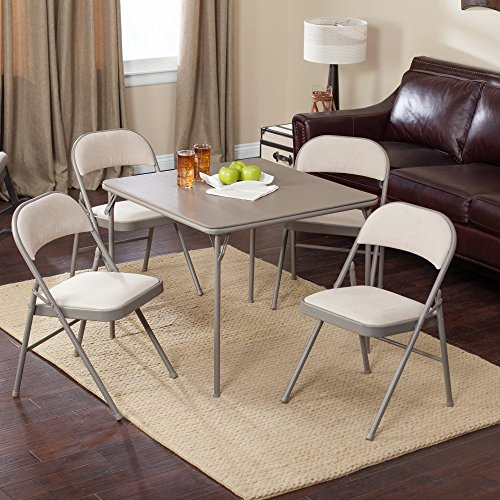 Meco Sudden Comfort Deluxe Double Padded Chair and Back- 5 Piece Card Table Set - Chicory (Padded Folding Table compare prices)