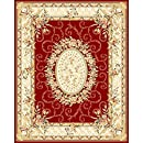 Safavieh Lyndhurst Collection LNH328C Red and Ivory Area Rug, 8 feet by 11 feet (8' x 11')
