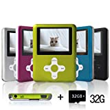 Lecmal Portable MP3/MP4 Player with 32GB Micro SD Card, Economic Multifunctional Music Player with Mini USB Port, MP3 Voice Recorder, Media Player Best Gift for Kids-32GB-Green (Color: Grassgreen)