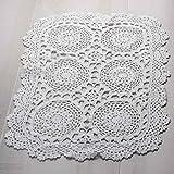 Hand Crocheted White Oblong 14 X 20 Decorative Doily