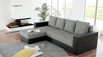 Canapé d'angle convertible et réversible lit ARION microfibre gris et simili noir