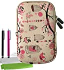 ColorYourLife Bundle of Free Birds Printed Tablet Laptop Sleeve Case Bag for Samsung Galaxy Tab 3 Barnes & Noble NOOK HD Google Nexus 7 (2013) 7-inch tablets with 2 Stylus Pens and Microfiber Cleaning Cloths (Pink birdcage, 7 inch)