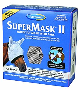 Farnam SuperMask II Horse Fly Mask with Ears Cslassic Collection, Assorted, Arabian