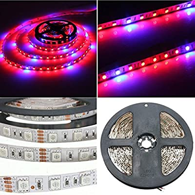 AUDEW 3.3ft 5:1 5050 Grow LED Strip Light Aquarium Greenhouse Hydroponic Plant 12V 12W