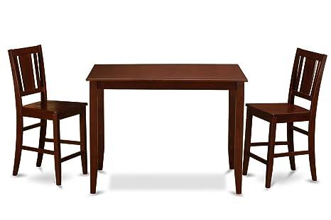 East West Furniture BUCK3-MAH-W 3-Piece Gathering Table Set, Mahogany Finish