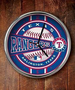 Texas Rangers Chrome Clock by Memory Company