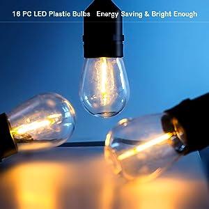 Torjim Solar String Lights - 48 Ft Heavy Duty Patio Waterproof LED Outdoor String Lights, 15 Hanging Sockets, Shatterproof, 16 Edison Bulbs for Backyard Porch Cafe Garden