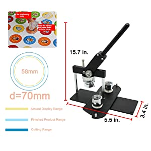 ChiButtons Kit 58mm (2 1/4) Button Maker Badge Press Machine-B400 + 58mm Round Die Moulds + 100 Set Pin Button Components + Adjustable Circle Cutter (Silver-New) (Color: Silver-new)