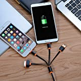 [2 Pack] USB Cable, Multi USB Charging Cable Adapter 4 in 1 Multi USB Charger for iPhone 7 7 Plus, 6S, 6 Plus, 5S, 4S, iPad Mini Air, iPod, Galaxy S5 S6, Power Bank and More- 3 Feet