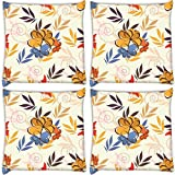 Snoogg Multicolor Petals Pack Of 4 Digitally Printed Cushion Cover Pillows 12 X 12 Inch