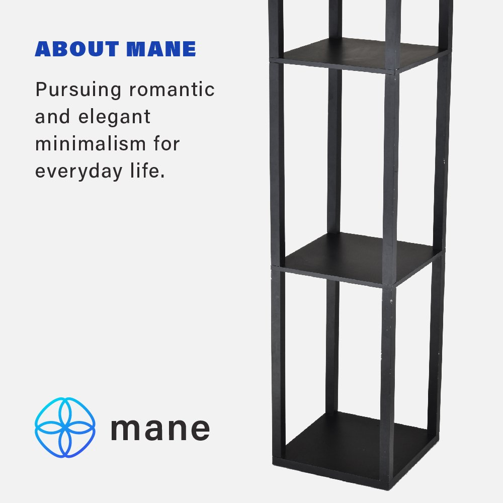 Mane Storage Shelf Floor Lamp- Elegant Wooden Frame Floor Lamp With 3 Storage Shelves- Beige Lamp Shade With Matte Black Finish- For Living Rooms, Bedrooms, Offices, Dorms, and Studies