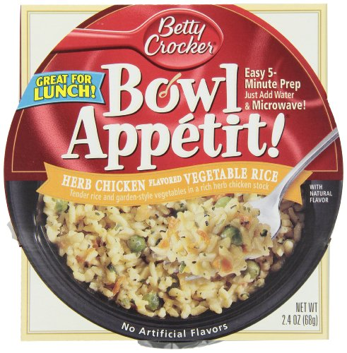 Betty Crocker Bowl Appetit, Herb Chicken Vegetable Rice, 2.4-Ounce Bowls (Pack Of 12)