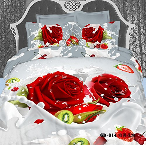 Queen King Size 100% Cotton 7-Pieces 3D Red Roses Milk White And Gray Floral Prints Fitted Sheet Set With Rubber Around Duvet Cover Set/Bed Linens/Bed Sheet Sets/Bedclothes/Bedding Sets/Bed Sets/Bed Covers/ Comforters Sets Bed In A Bag (King) front-741441