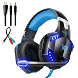 Mengshen Stereo Gaming Headset - with Mic, Volume Control and Cool LED Lights - Compatible with PC, Laptop, Smartphone, PS4 and Xbox One Controller, G2000 (Blue) (Color: Blue)