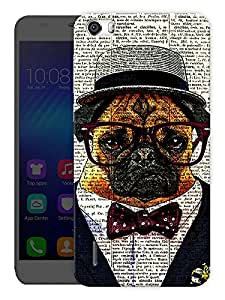 """Humor Gang Nerdy Pug Dog Printed Designer Mobile Back Cover For """"Huawei Honor 6"""" (3D, Matte, Premium Quality Snap On Case)"""