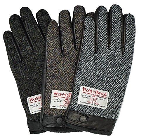 ハリス ツイード ラムレザー手袋