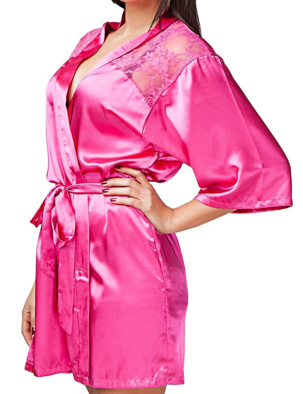 24brands damen nachtw sche morgenmantel kimono mit spitze. Black Bedroom Furniture Sets. Home Design Ideas