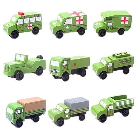 SHINA 12 pcs mini jouet maquette voiture militaire vert en bois jeep camion véhicule mobile meuilleur cadeau pour garçon