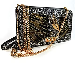 a4f3d758b A Handmade Metallic Evening Bag with Metal Lips Pyramid Studs and Triple  Option Adjustable Chain Shoulder Straps ZH3014-PR